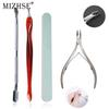 MIZHSE 4pcs Set Nail Art Files UV Gel Nail Cuticle Pusher Remover Clippers Scissors Set For Manicure Gel Polish Tools