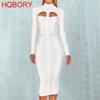 2018 Winter Knitted Long Sleeve Hollow Out Hole Bodycon New Fashion Sexy Women Celebrities Long Bandage Dress White