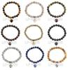 "5pcs Lot Stretchy Bracelet Natural Gem-stone Heart Round Beads 7.5"" 8mm Healing Chakra Beads Jewelry Wholesale"