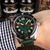 cadran vert (bracelet en cuir vert)