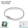 YHAMNI 100% Real 925 Sterling Silver Bracelets 3mm Snake Chain Fit Pandora Charm Bead Bangle Bracelet DIY Jewelry Gift For Men Women KB005