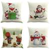 Merry Christmas Santa Claus Dog Letter Pillow Cover Xmas Ambience Square Throw Pillow Case