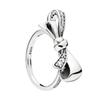 925 Sterling Silver Gorgeous bows RING Set Original Box for Pandora Luxury Fashion CZ Diamond Wedding Gift Ring