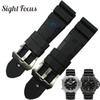 24mm 26mm Lightning Watch Bands For Panerai Pam Luminor Rubber Strap Pre-v Tang Buckle Wrist Watch Bracelet Sport Band Orologio Y19070902