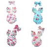 Newborn Baby Onesies Baby Girl Designer Clothes Blue Flower Dot Climbing Suit Sleeveless Triangular Climb Pullover 28