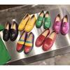 2019 Letters Mix Color Genuine Leather Ladies flat bottom shoes jelly Color Mules Loafer Shoes Women's Print Leather Slipper Sandals 35-40