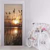 3D Door Mural Wrap Glossy Bubble Free Sunset Seaside Grass - Peel and Stick - Easy-to-Clean, Durable