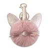 Fashion Key Ring Pendant Cute Cat Keychain Pompom Fake Fur Ball Key Chain Fluffy Pompon Keyring Bag Charms Ring