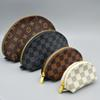 High quality lattice stitching zipper oval coin purse men and women fashion personality four-piece storage bag small round bag brabd