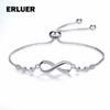 Infinity Charm Bracelet for women girl Lover Gift CZ Zircon Blue Crystal Jewelry fashion Adjustable Silver Chain Link Bracelets