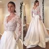 Wholesale Gorgeous Ivory Lace Long Sleeve Bridal Wedding Gowns Plunge V Neckline Buttons Back Sweep Train Bridal Dresses