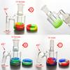 Glass Ash Catcher with 10ML Silicone Container 14MM-14MM joint for glass bongs water pipe Glass ashcatcher Free Shipping