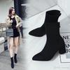New autumn and winter boots, stretch boots, high-heeled boots, British style and velvet Martin boots.Girl zipper boot