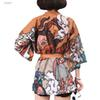 Japanese Harajuku Vintage Blouse Female Summer Ulzzang Kawaii Graphic Oversized Long Sleeve Cardigan Tops Shirts Street Femme Bandage