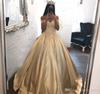 2019 Gold Quinceanera Dress Princess Arabic Dubai Styles Off Shoulder Sweet 16 Ages Long Girls Prom Party Pageant Gown Plus Size Custom Mad