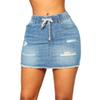 Women Summer Sexy Elastic Waist Stretch Above Knee Bodycon Mini Ripped Hollow Out Distressed Party Club Denim Skirts Shorts 30