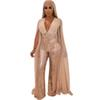Women Chiffon Split Long Sleeve Sequin Jumpsuit Sexy V Neck Patchwork Loose Wide Leg Romper Evening Sparkly Jumpsuit Overalls R14