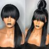 12-26inch Silky Straight Jet Black Human Hair Full Lace Wig With Bangs Pre Plucked With Baby Hair 130% Density Lace Front Wig Bleached Knots