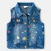 Spring Autumn 2019 new Girls Waistcoats Printing kids Denim Waistcoat Children Outwear Girls vest kids designer clothes girls Clothes A3124