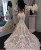 2019 New Illusion Long Sleeves Lace Mermaid Wedding Dresses Tulle Applique Court Wedding Bridal Gowns With Buttons