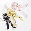 3 color Spring Floral Hair Scrunchies Bow Women Accessories Hair Bands Ties Scrunchie Ponytail Holder Rubber Rope Decoration Big Long Bow