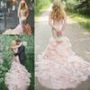 2019 Country Blush Pink Wedding Dresses Mermaid Sweetheart Sweep Train Bridal Gowns With Crystal Sash Tiered Skirts Organza Wedding Gowns