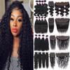 9A Brazilian Virgin Hair Bundles With Closure 4X4 Lace Closure Kinky Curly Human Hair Weaves Ear To Ear 13X4 Lace Frontal With Bundles