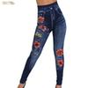 Women Faux Denim Trousers Jeans Ladies Seamless Floral Print Solid Sexy Full Plus Size Streetwear Jean Taille Haute