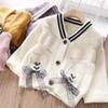 4color bows girls cardigan fashion kids cardigan kids designer clothes girls sweater coats kids coats new autumn girls clothes A8056