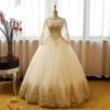 Vestido de Novia Ball Gown Quinceanera Dresses Gold Lace Prom Dresses Sexy Sheer Neck Long Sleeves Prom Dresses