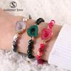 New 6mm Nature Stone Agate Beads Bracelet with Thanks Card for Women Adjustable Resin Druzy Handmade Braided Bracelet Fashion Jewelry Gift
