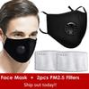 1pcs Negro máscara + 2pcs Filtros