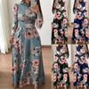 Womens Floral Maxi Dress Long Sleeve Evening Party Summer Beach Long Dresses Printed Boho Sundress New Fashion Streetwear S19713