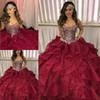 2019 Tiered Cascading Ruffles Quinceanera Dresses Pageant Dazzling Silver Crystal Rhinestone Burgundy Organza Ball Gown Prom Party Dress