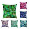 45* 45cm Simple Geometry Stitching Bright Pattern Cuddle Pillowcase Suitable for Home Decoration Square Sofa Cushion Cover