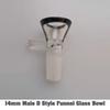 14mm D Masculino Estilo embudo de vidrio tazón de fuente