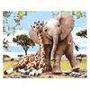 Diy Animals Oil Painting Paint by Numbers with Acrylic Paints Brushes with or without Framed for Adults Beginners-Elephant and Giraffe