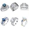 Vintage CZ Wedding Ring Sets 925 Silver Promise Engagement Ring Jewelry For Women Size 5 6 7 8 9