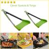 New Clever Spatula & Tong 2-in-1 Kitchen Spatula Tongs Non-stick Heat Resistant Kitchen Helper Frame Kitchen Tongs Tools 1Set=2pcs