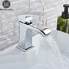 Chrome Waterfall Bathroom Sink Faucet Deck Mounted Brass Vanity Sink Mixer Tap Hot Cold Mixer Crane Single Handle