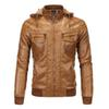 Hooded Leather Jacket Men Winter Leather Faux Fleece Detachable PU Faux Jacket Men Motorcycle S-3XL