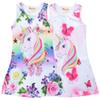 New design unicorn floral printed girls dresses 4-9t kids summer clothes girls sleeveless dress jumpers kids designer clothes girls SS223