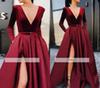 2019 Burgundy Split Evening Dress Sexy A Line Deep V Neck Long Sleeves Holiday Wear Formal Party Gown Custom Made Plus Size