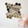 DIDIHOU 12Pcs 3D Hexagon Acrylic Mirror Wall Stickers DIY Art Wall Decor Stickers Home Decor Living Room Mirrored Sticker Gold