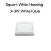 ساحة الأبيض الإسكان 3 + 3W الأبيض + الأزرق