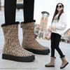 fashion Leopard letters women boots brand snow boots plush round toe winter female 2019 new high walking sneakers 2019 new hot
