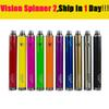 Vision spinner 2 II 1600mah Ego C twist Vision2 Battery E Cigs Electronic Cigarettes eGo atomizer Clearomizer Colorful DHL EC013