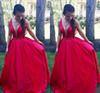 2020 Red Satin Prom Dresses Deep V Sheer Neck Beaded Crystal Straps A Line Floor Length Custom Made Evening Gown Formal Occasion Wear