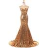 Gold Sequin Mermaid Prom Dresses 2019 Sexy Back See Through Long Sweep Train Evening Dress Party For Women Customized