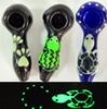 Smoking Pipes Glow in the Dark Glass Oil Burner Hand Pipes Luminous Animal 4 inches Tortoise Paws Frog Cute Heady Tobacco Water Pipe